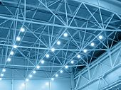 stock photo of roof-light  - Interior blue color warehouse construction lighting - JPG