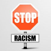picture of racial discrimination  - detailed illustration of a red stop Racism sign - JPG