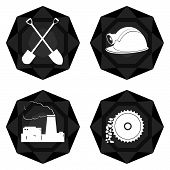 picture of auger  - Icons with abstract images of objects and equipment used in the mining industry - JPG