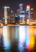 foto of singapore night  - Lights of Singapore Downtown Core reflected in the river at night