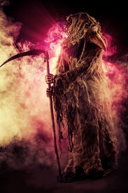 pic of scythe  - Portrait of a terrible plague doctor with a scythe - JPG
