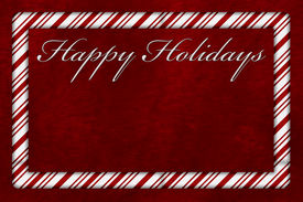 foto of candy cane border  - A Happy Holidays card A Candy Cane border with words Happy Holidays over red plush background with copy - JPG