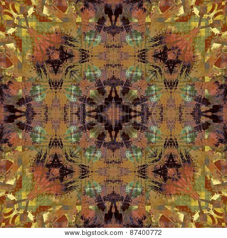 art deco ornamental vintage pattern, S.22, colorful background in orange brown, gold, dark blue and olive green colors