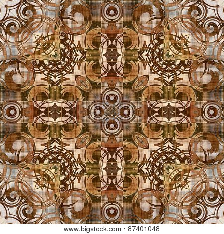 art deco ornamental vintage pattern, S.39, monochrome background in white, beige, olive and brown colors