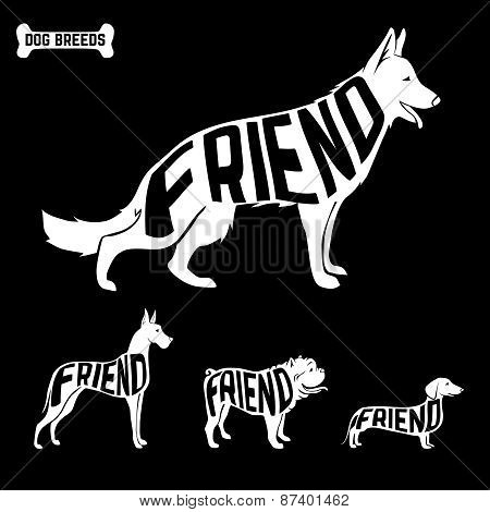 Dogs silhouettes with text inside. isolated