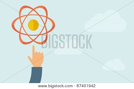 A hand pointing to science technology icon.  A contemporary style with pastel palette, light blue cloudy sky background. Vector flat design illustration. Horizontal layout with text space on right
