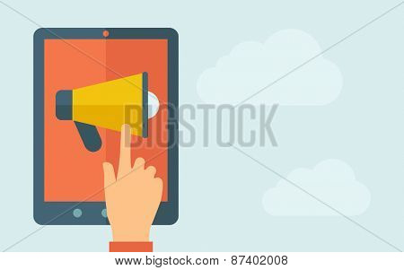 A hand is touching the screen of a tablet with megaphone icon. A contemporary style with pastel palette, light blue cloudy sky background. Vector flat design illustration. Horizontal layout with text