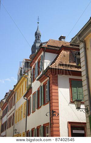 Walls Of Picturesque Houses In Heidelberg