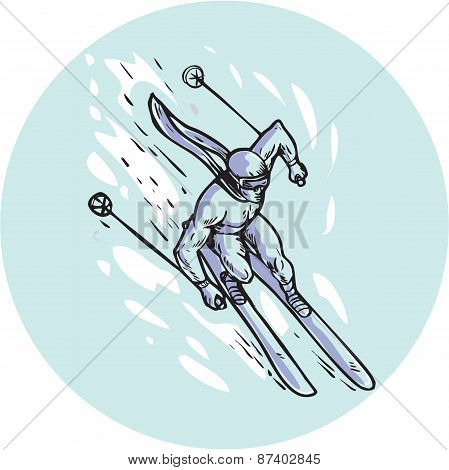 Skiing Slalom Circle Etching