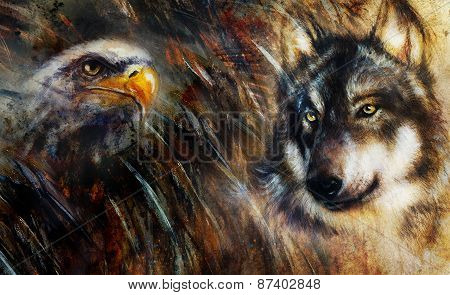 Wolf And Eagle Color Painting, Feathers Background, Multicolor Collage Illustration