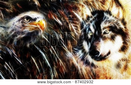 Wolf And Eagle Color Painting, Feathers Background, Multicolor Collage Illustration Fractal Effect