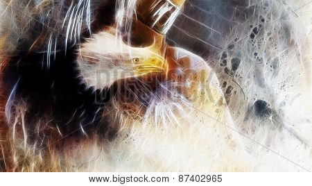 Native Abstract Color Background With Wild Animals Eagle,  Fractal Effect