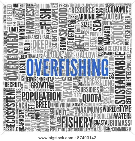 Close up Blue OVERFISHING Text at the Center of Word Tag Cloud on White Background.