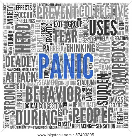 Close up Blue PANIC Text at the Center of Word Tag Cloud on White Background.