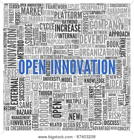 Close up Blue OPEN INNOVATION Text at the Center of Word Tag Cloud on White Background.