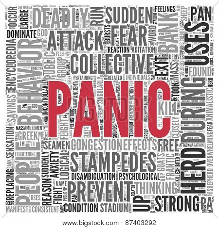 Close up Red PANIC Text at the Center of Word Tag Cloud on White Background.