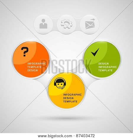 Infographics design with color round elements on gray background