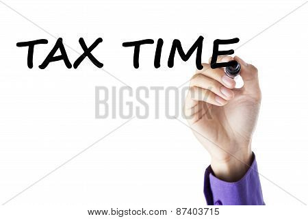 Closeup Of Hand With Tax Time