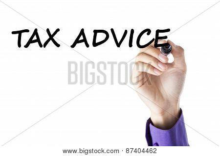 Hand Writes Tax Advice
