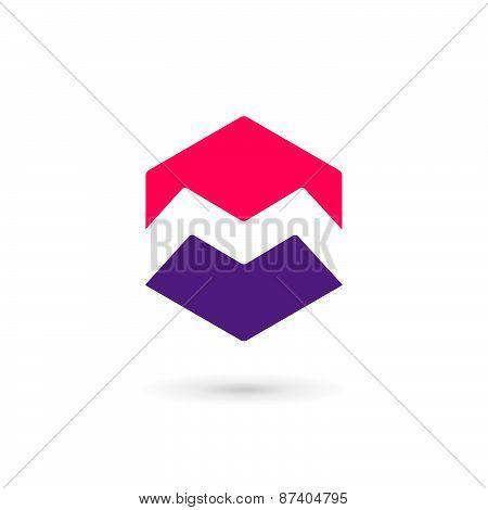 Letter M Cube Logo Icon Design Template Elements