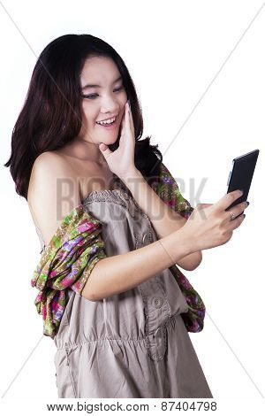 Lovely Girl Holding A Mobile Phone