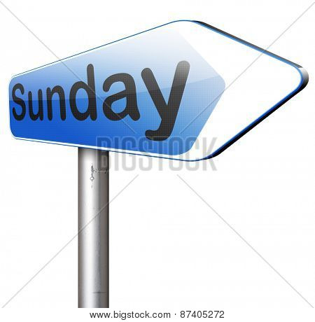 sunday next day calendar concept for appointment program or event