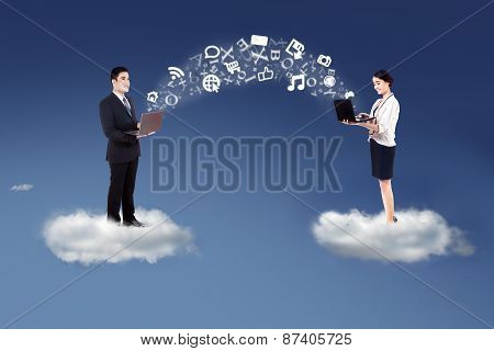 People Sharing Information On Cloud