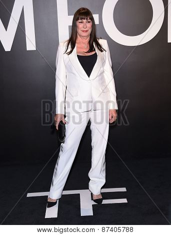 LOS ANGELES - FEB 20:  Anjelica Huston arrives to the Tom Ford Autumn/Winter 2015 Womenswear Collection Presentation  on February 20, 2015 in Hollywood, CA