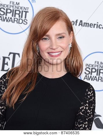 LOS ANGELES - FEB 21:  Jessica Chastain arrives to the 2015 Film Independent Spirit Awards  on February 21, 2015 in Santa Monica, CA