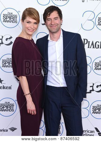 LOS ANGELES - FEB 21:  Mark Duplass & Katie Aselton arrives to the 2015 Film Independent Spirit Awards  on February 21, 2015 in Santa Monica, CA