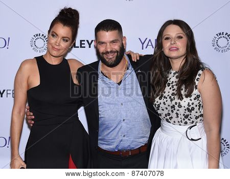 LOS ANGELES - MAR 08:  Bellamy Young, Guillermo Diaz & Katie Lowes arrives to the Paleyfest 2015