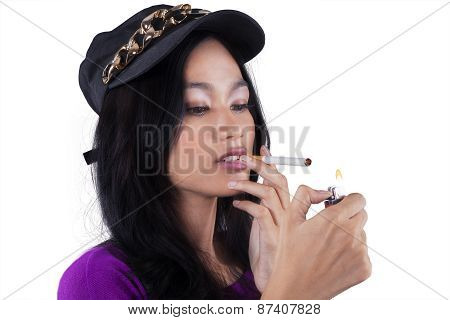 Trendy Teenage Girl Smoking Cigarette