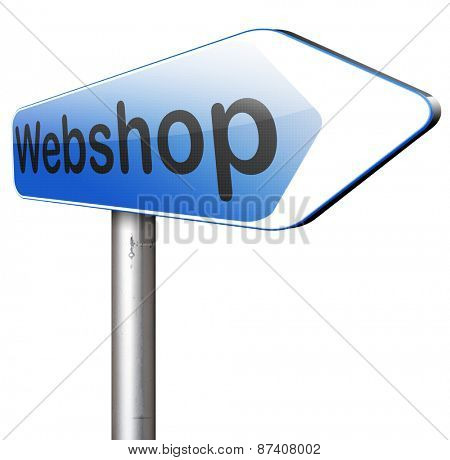 online shopping at internet webshop or store