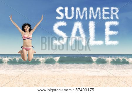 Woman With Summer Sale Text