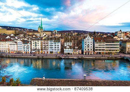 ZURICH, SWITZERLAND - CIRCA JAN 2015: Aerial view of the Old Town in Zurich, Switzerland.