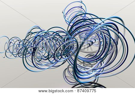 3D illustration of abstract with multiple rings