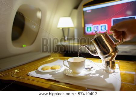 DUBAI, UAE - MARCH 31, 2015: Emirates first class interior. Emirates is one of two flag carriers of the United Arab Emirates along with Etihad Airways and is based in Dubai.