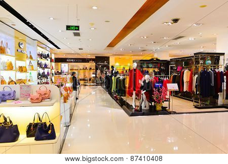 SHENZHEN, CHINA - FEBRUARY 04, 2015: modern shopping center interior. ShenZhen is regarded as one of the most successful Special Economic Zones.