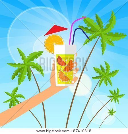 cocktail over green palm tree blue sky vector