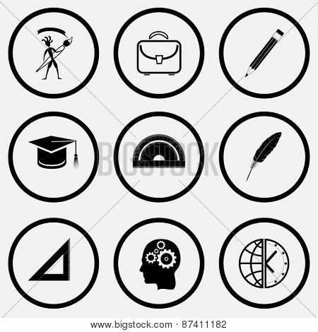 Education set. Black and white set raster icons.