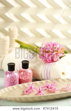 Beautiful spa composition with hyacinth flowers, close up