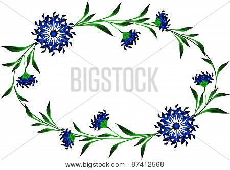Frame with cornflowers in the shape of a circle
