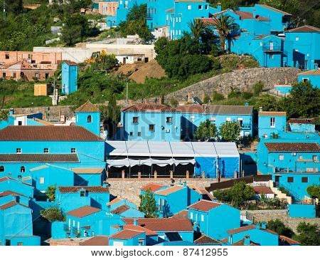 Juzcar, blue Andalusian village in Malaga, Spain. village was painted blue for The Smurfs movie launch