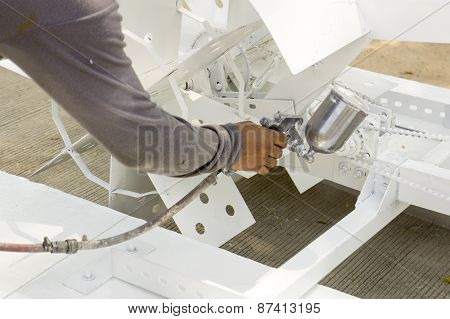 Man Work Machanic Bicycle Gear Fix Painting Spray Concept