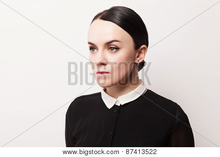 Retro portrait of a strict young woman