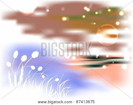 Bright night landscape with lake and reeds in the light of the moon
