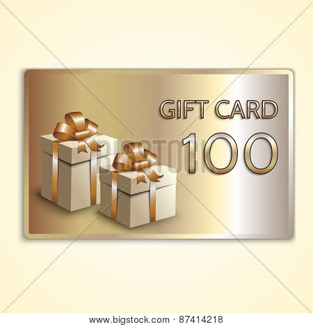 Vector abstract golden gift card with boxes