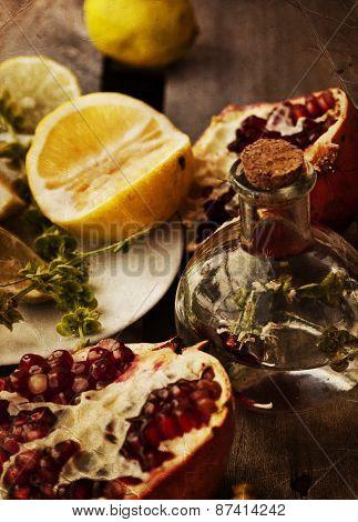 Lemonade with fresh lemon, mint and pomegranate