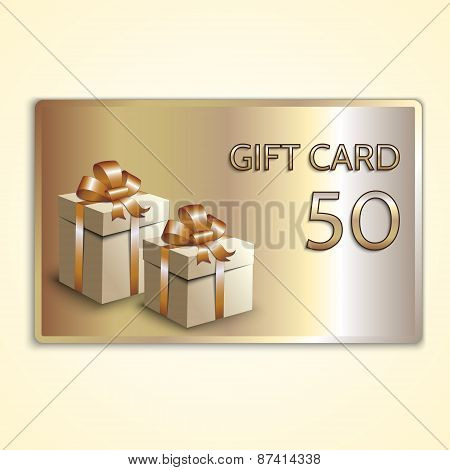 Vector abstract golden gift card with two boxes