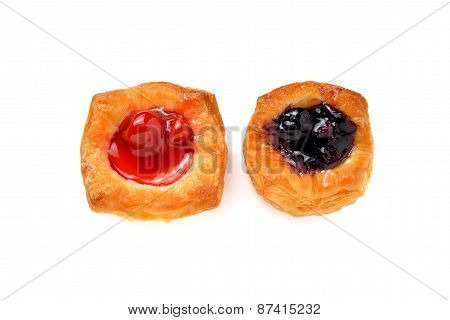 Mini Raspberry And Blueberry Danish On White Background